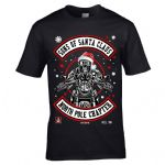 Funny Premium Retro Christmas Santa Hat Sons of Santa Claus Retro Biker Skull Mens Xmas T-shirt Top